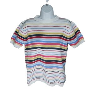 Striped Knit Top, Short Sleeves, Colorful, L